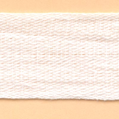 25mm Cotton Tape - White
