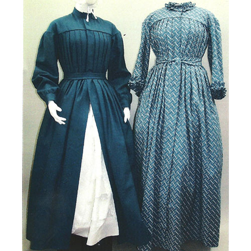 LM120 1840-1860 Pleated Wrapper, Maternity Dress Pattern